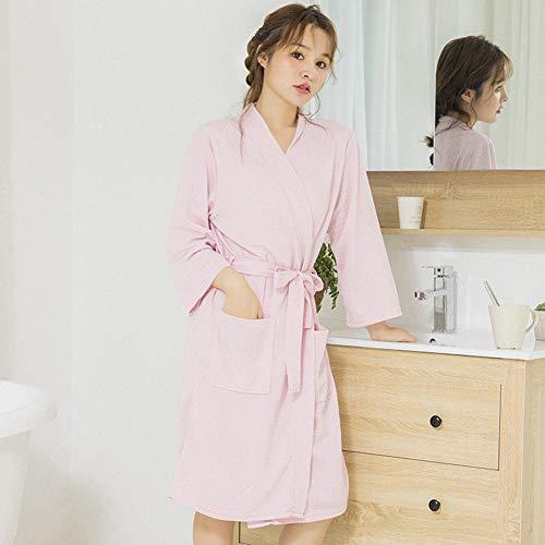 KKCD Frauen Waffel Bademantel Robe, Large Size Leichte Nachthemden Nachtwäsche Spa Robe Für Home Hotel,Rosa,XL -