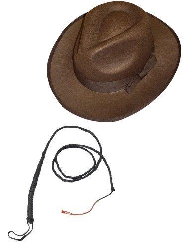 ILOVEFANCYDRESS Hut & Peitsche - ZUBEHÖR FÜR - Indiana Jones -Cowboy ODER Western KOSTÜM= Fasching Unisex Verkleidung