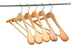 AADYA Hanger Gugertree Wooden Extra-Wide Hangers, Natural Finish, 5-Pack
