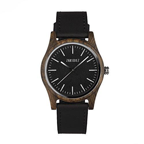ZARTHOLZ Herren Damen Unisex Holzuhr Holz-Armbanduhr Meister (Sandelholz Schwarz mit Lederarmband)