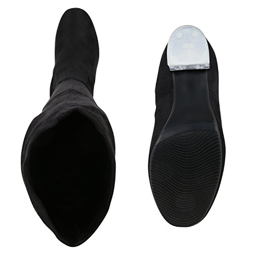 Bootsparadise Donna Stivali Overknees Scamosciata Ottica Blocco Tacco Scarpe Stivali Lunghi Stivali Levigatura Flandell Nero Agueda