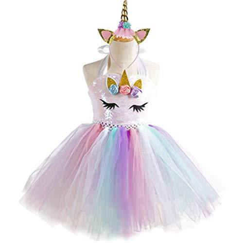 BARBEDINGROSE Mädchen Kleid Regenbogen Pettiskirt Prinzessin Einhorn mit Prinzessin Kostüm, Rollenspiel Party, Kostüm Prinzessin Alter 2-8 Jahre alt, Baby Kleid,2and3years (Süße Feiertags Kostüme Ideen)