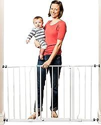 Regalo Easy Open 128cm Super Wide Walk Thru Baby Safety Gate (White)