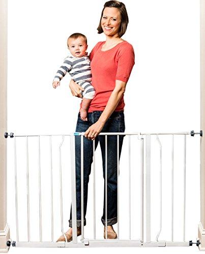 Regalo Leicht zu öffnendes, besonders breites Baby-Schutzgitter, Druckbefestigung, inklusive 2 Verlängerungs-Kits (128 cm)