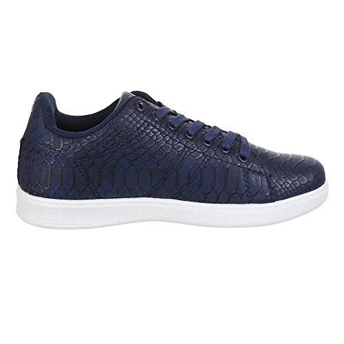 Damen Schuhe, ZY002, FREIZEITSCHUHE SCHNÜRER SCHLANGENOPTIK SNEAKER Blau