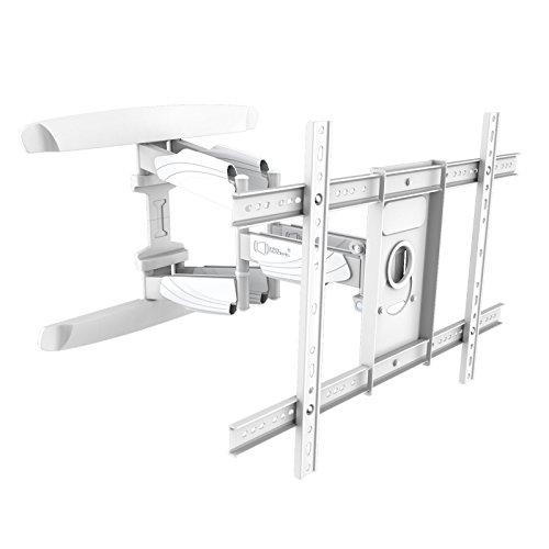 Intecbrackets® Doppel-Arm weiße Profi-Qualität, Schwenkbar und neigbar extra Starke und schlanke Wandhalterung (nur 55mm Abstand). 40 42 43 46 47 48 49 50 52 55 58 60 65 70 TVs