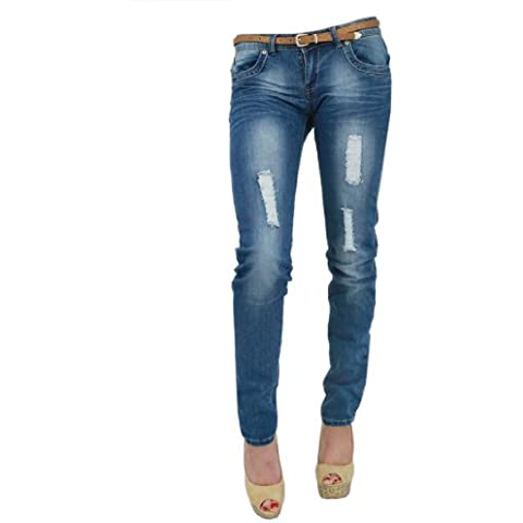Para mujer, denim blue jeans Ripped estilo skinny Slim Fit Jeans con diseño de piel de serpiente