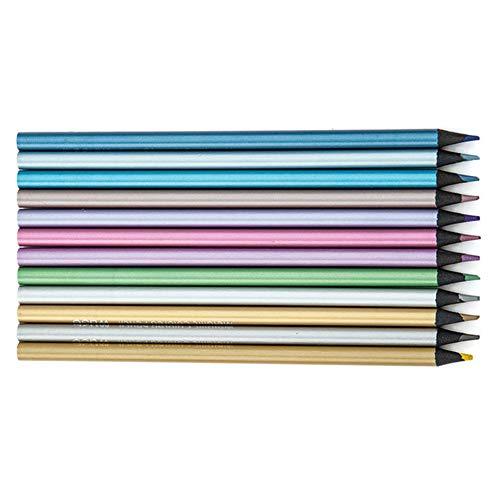 Bleistift, 12 Farben, Handwerksgeschenk, professionell, umweltfreundlich, Bastelbedarf, metallische Bleie, glitzernd, für Schule Zeichnen, Skizzen, Studenten Free Size Wie abgebildet
