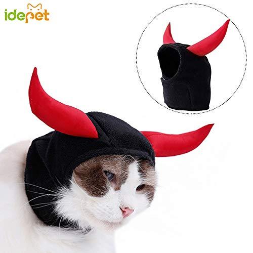 Teufel Einfach Kostüm - Idepet Pet Cat Kostüm Teufel Hörner Hat Kleid bis für Halloween Weihnachten Events Angenehm Weiches Verstellbare für Katzen Kleine Hunde