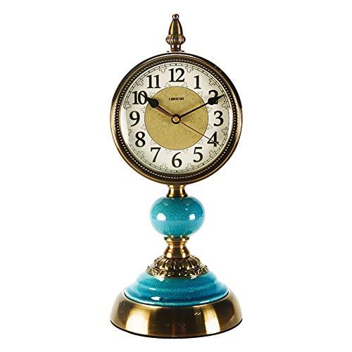 Li-lamp Tischuhr, Quarz-Tischuhr Seiko Wohnzimmer Metallmanteluhr Stummschaltung Europäische Retro-Uhr Atmosphärenspiegel (Stil : EIN)