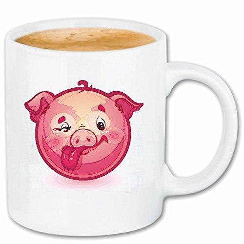 Reifen-Markt Kaffeetasse LACHENDES GLÜCKSSCHWEIN STRECKT Seine Zunge Raus Smiley Smileys Smilies Android iPhone Emoticons IOS GRINSE Gesicht Emoticon APP Keramik (Smiley Zunge Raus)