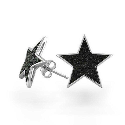 Bling Jewelry Sterling Silber Black Star Micropave CZ Stud Mens Ohrringe (Black Star Ohrringe)