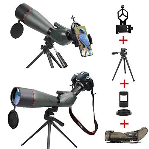 Longue-Vue étanche HD 20-60 x 80mm avec trépied, portée Prisme BAK4 pour l'observation des Oiseaux,avec Adaptateur téléphonique, Monture SLR pour Canon, kit Sac de Transport