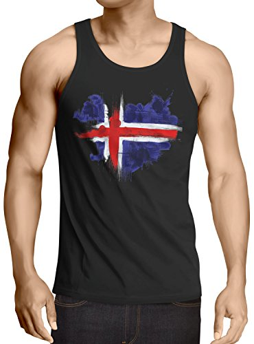 CottonCloud Flagge Island Herren Tank Top Fußball Sport Iceland WM EM Fahne, Größe:M, Farbe:Schwarz
