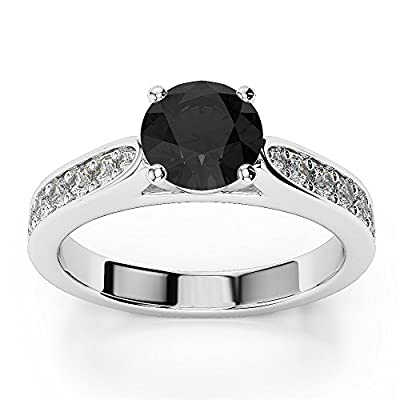 1.00 Carat AAA Black and White Diamond Engagement Ring Crafted in 9k White Gold