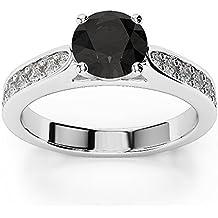 565ba147858 Amazon.fr   Bague Diamant Noir Or Blanc