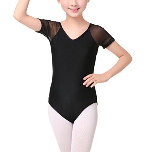 Mesh-trikot Dance (Zhhlinyuan Girls' Ballettkleid Dance Costume Dancewear Fashion Black Mesh Short Sleeve Gymnastic Leotards Size L-7XL)
