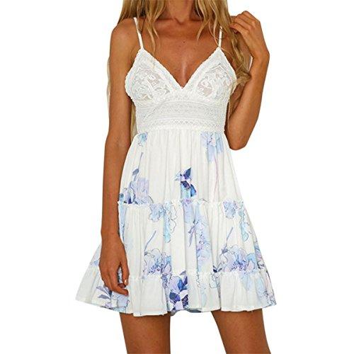 HET Damen Sommer Backless Dünne Rock Art und Weise Reizvolles Sleeveless V-Ansatz Minikleid Abend Partei Strand Kleid Sun Kleid (M, Blau) (College Kostüme Für Jungs)