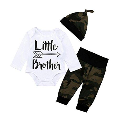 Longra Baby Bekleidung Neugeborene Mädchen Jungen Langarm-Body mit Brief Aufdruck Camouflage Strampelhose mit Fuß Mütze 3 stücke Baby Kleidung Set (White, 70CM 3Monate) (Neugeborene Jungen Kleidung Elch)