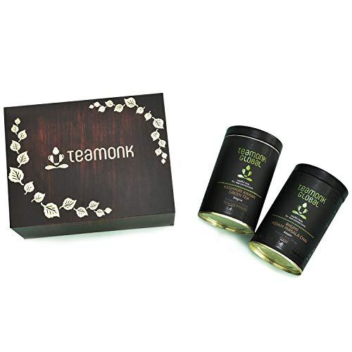 Teamonk Luxury Tea Pack in Presentation Flip Box | Premium Tea Gift for Men, Women | Pack of 2: Kashmiri Kahwa Green Tea & Assam Masala Chai | Pure Loose Leaf Tea | No Additives - 100 Grams Each