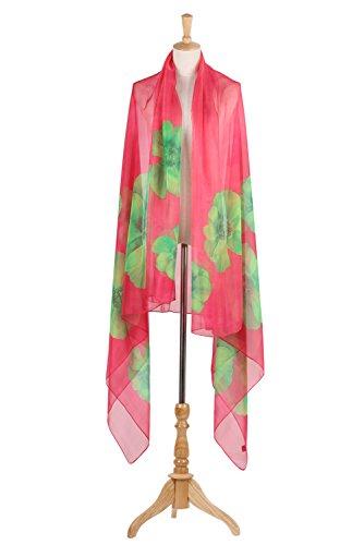 PB-SOAR XXL Damen Sarong Pareo Strandtuch Wickelrock Wickeltuch Schal Halstuch mit Blumenmuster, weich und leicht Pink