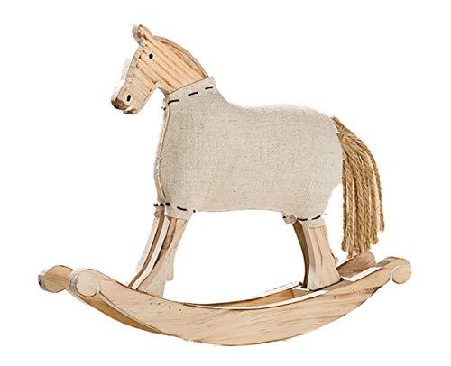 Gilde figura decorativa nostalgisches cavallo a dondolo legno naturale bianco satinato, 21cm di altezza