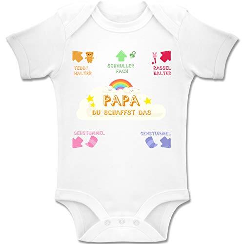Shirtracer Strampler Motive - Papa du schaffst das bunt - 18-24 Monate - Weiß - BZ10 - Baby Body Kurzarm Jungen Mädchen