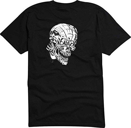 T-Shirt D554 T-Shirt Herren schwarz mit farbigem Brustaufdruck - Design Tribal Comic / abstrakte Retro Grafik / Totenkopf Hybrid Mehrfarbig