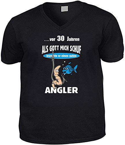 T-Shirt mit V-Ausschnitt - vor 30 Jahren - Als Gott mich schuf, brauchte er einen Angler - witziges Geschenk mit Humor