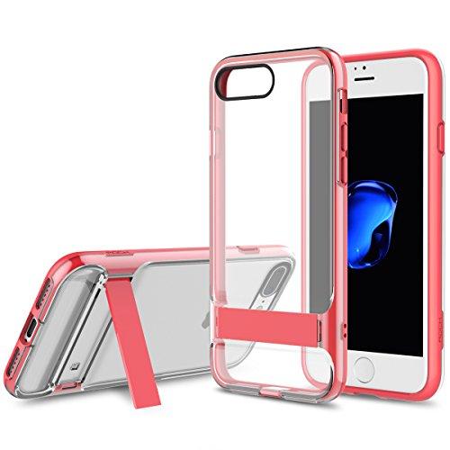ROCK Royce Active Series Coque iPhone 7,Transparent Phone Étui avec Kickstand,Cas de Téléphone en PC+TPU Plastique Protégez votre Apple iPhone 7(4.7inch) - Rose Rouge Rose Rouge