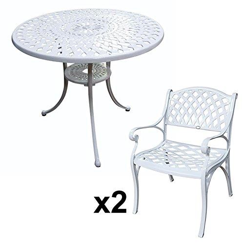 Lazy Susan - MIA 90 cm Runder Gartentisch mit 2 Stühlen ...