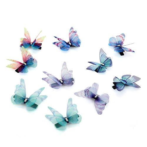 10er Set Damen Mädchen Kinder Haar Clips 3D Schmetterling Haarspange mit weiß Strass - Set Haar-clip,