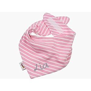Jersey - Halstuch mit Namen personalisiert * Ringel rosa - weiß * Sabbertuch