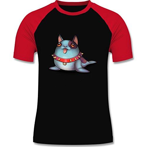 Sonstige Tiere - Seehund - zweifarbiges Baseballshirt für Männer Schwarz/Rot