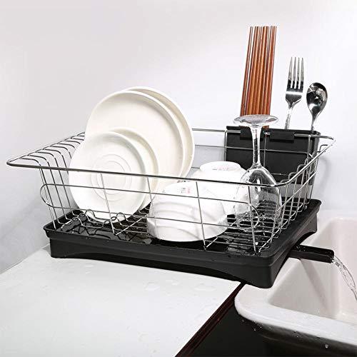 Égouttoir à Vaisselle en Acier Ino et Plastique pour Cuisine, 3 Pièces Support à Couverts...