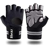 Hykes Gym Gloves for Weight Lifting Crossfit Fitness Workout Hand Grips with Wrist wrap Support for Men & Women