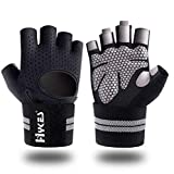 Hykes Gym Gloves for Weight Lifting Crossfit Fitness Workout Hand Grips with Wrist