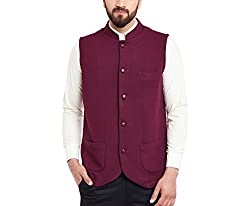 Hypernation Maroon Color Cotton Nehru Jacket For Men