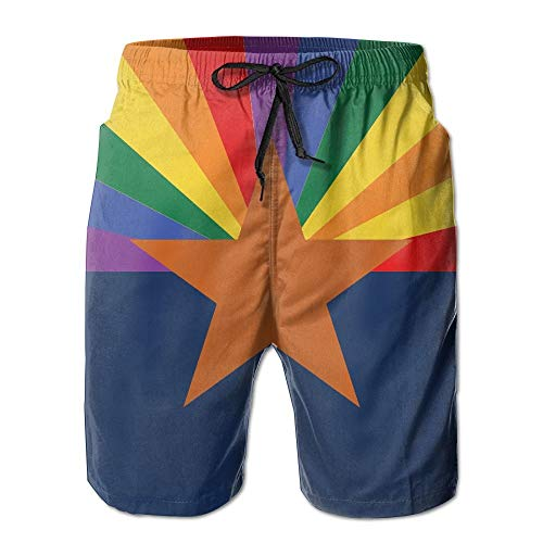 KKONEDS LGBT Arizona Flag Gay Pride Men Casual Drawstring Beach Boardshorts Pants Pocket,Personality Beach Shorts Trucks Pants Mens Quick Dry Beach Shorts XX-Large Arizona Boys Jean