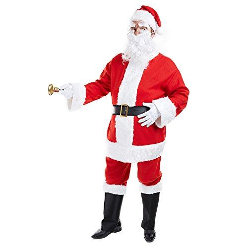 Charm Rainbow Weihnachtsmannkostüm Nikolauskostüm 6-teilig weiße Plüsch Rote Santa Claus Komplett Set inkl. Jacke, Hose, Hut, Gürtel, Bart und Stiefel-Überzieher (XX-Large)