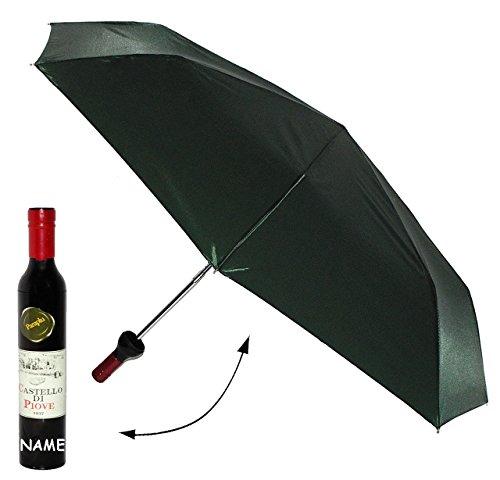 Unbekannt Taschenschirm -  in Weinflasche - grün  - ø 98 cm - incl. Name - Regenschirm / Erwachsenenschirm / Kinderschirm / - Weinliebhaber - Weine - für Damen / Frau..