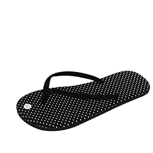 Mme Tongs Plates, LuckyGirls® l'été Femme Slippers Pantoufles Chaussures Sandales Pantoufle Intérieur & Extérieur Tongs Chaussures Sandales Pantoufles 37~39 (37.5, Noir A)