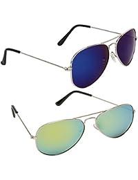 Magjons Fashion Combo Of Blue And Green Mirror Aviator Sunglasses