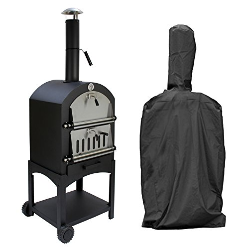 KuKoo Outdoor Pizza Oven & Rain Cover, Plus Free Pizza Cutter Wood Fired Charcoal Garden Oven, BBQ Smoker & Bread Oven