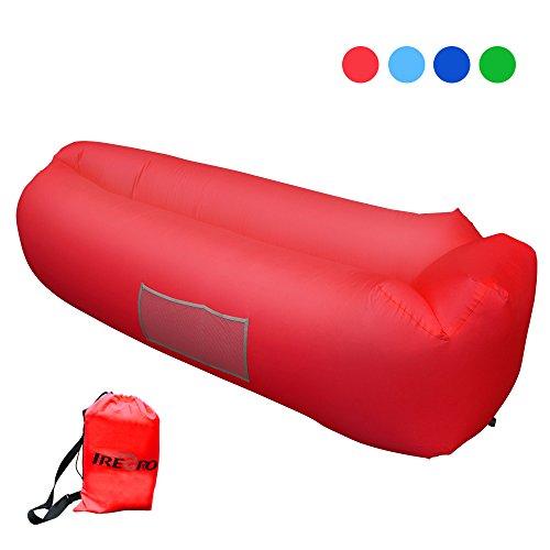 Aufblasbares Sofa iRegro tragbarer aufblasbarer Sitzsack mit integriertem Kissen und integriertem Seitentaschen, wasserdichtes air Lounger aufblasbare couch Outdoor Sofa aufblasbar für Camping, Park, Strand, Hinterhof (rot)
