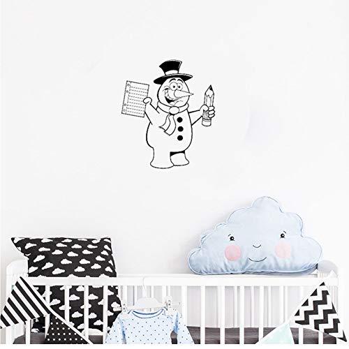 Waofe Wandaufkleber Für Kinderzimmer Home Decor Decals Wandbild Art Muster Schneemann Winter Hut Bleistift Schal Kinderzimmer Wand Aufkleber Cute 42 * 50Cm