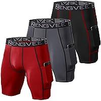 ZENGVEE 3 Piezas Mallas Running Hombre Pantalones Cortos Hombre de Compresión para Deporte, Fitness, Gym