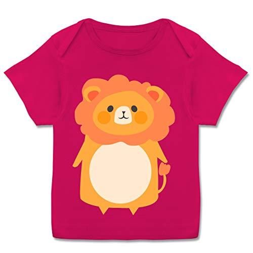 Karneval und Fasching Baby - Fasching Kostüm Löwe - 68-74 (9 Monate) - Fuchsia - E110B - Kurzarm Baby-Shirt für Jungen und Mädchen (Tron Kostüm Mädchen)
