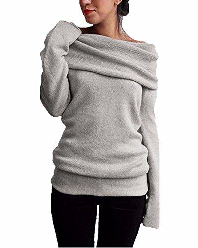 Aidonger Donne Maglieria Manica Lunga Maglione Pullover per l'autunno inverno grigio