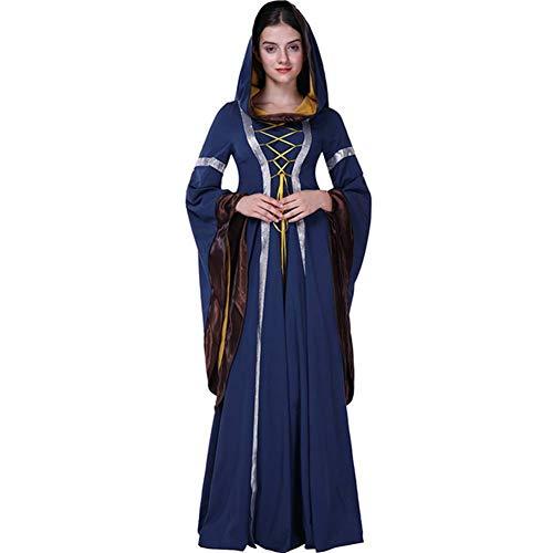 Und Magier Kostüm Hase - GUAN Halloween Hooded Retro Gericht Kleid Queen Queen Kleidung Bar Stage Party Kleid